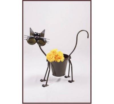 Metal Cat with Pot