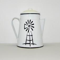 Enamel Ware - White - Coffeepot with Windmill