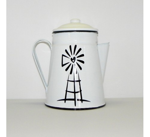 Enamel Ware - White - Coffeepot with Windmill