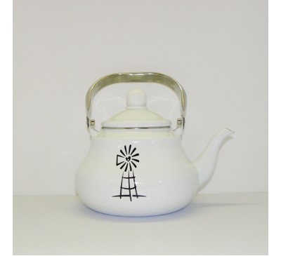 Enamel Ware - White - Teapot with Windmill