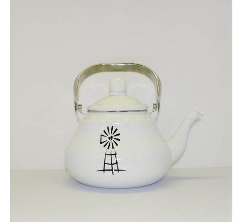 Enamel Ware - White - Teapot with Windmill