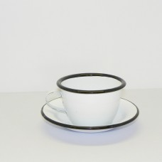 Enamel Ware - White - Cup and Saucer