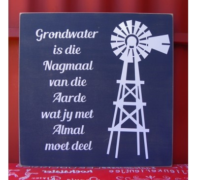 Wooden Sign - Grondwater 1